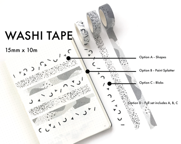 Washi Tape - Black and White Patterned - 15mm rolls