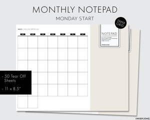 Desk Notepad - Monthly (Sunday Start) - 11x8.5in