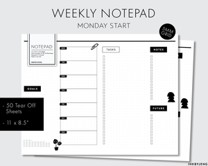 Desk Notepad - Weekly (Monday Start) - 11x8.5in