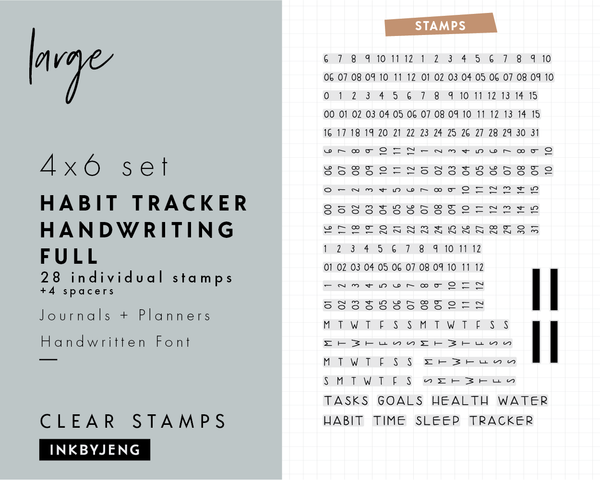 "Habit Tracker Handwritten Full - 4x6"" Clear Stamp Kit (043)"