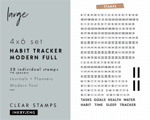 "Habit Tracker Modern Full - 4x6"" Clear Stamp Kit (044)"
