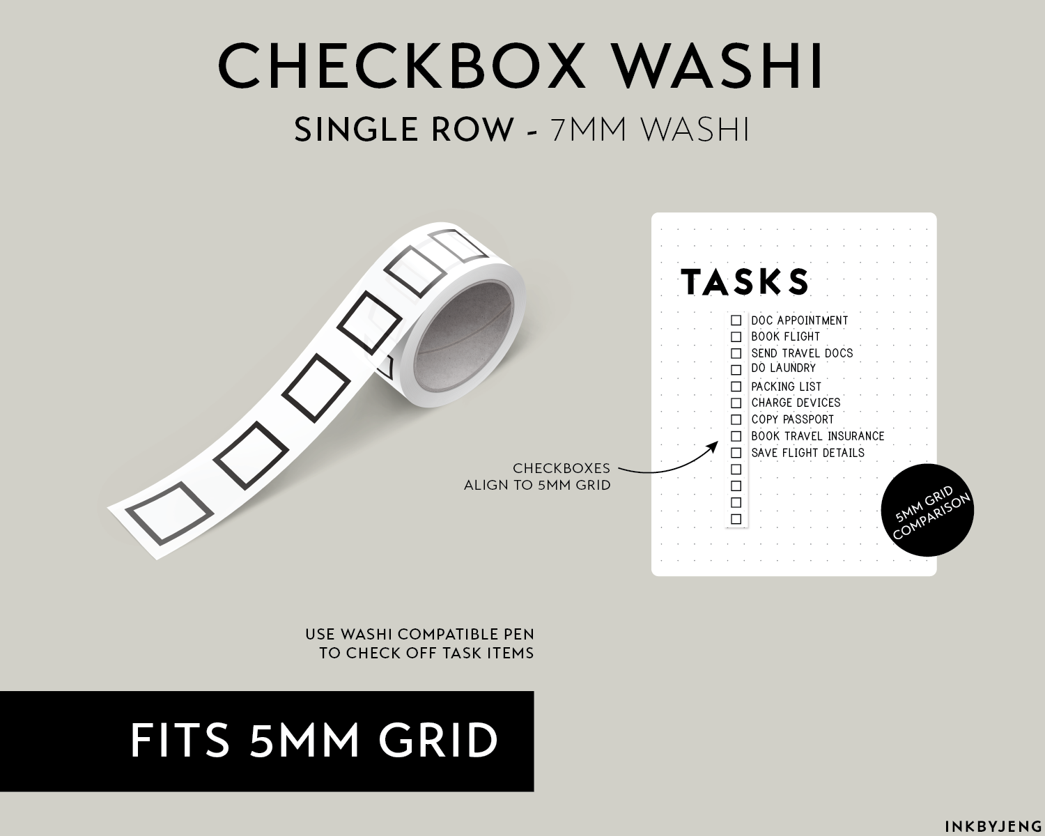 Washi Tape 7mm - Checkboxes Single Row - (W7 | 097)