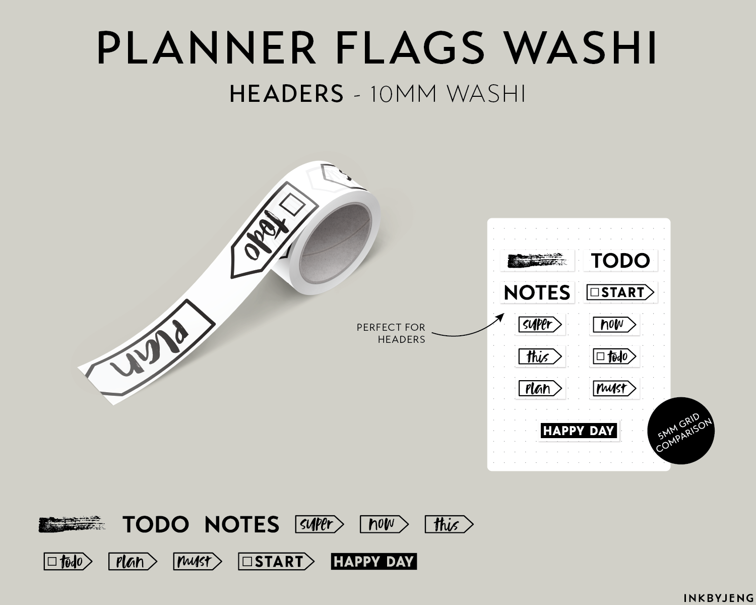 Washi Tape 10mm - Planner Flags Headers - (W10 | 095)