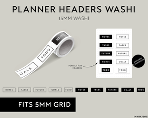 Washi Tape 15mm - Planner Headers - (W15 | 093)