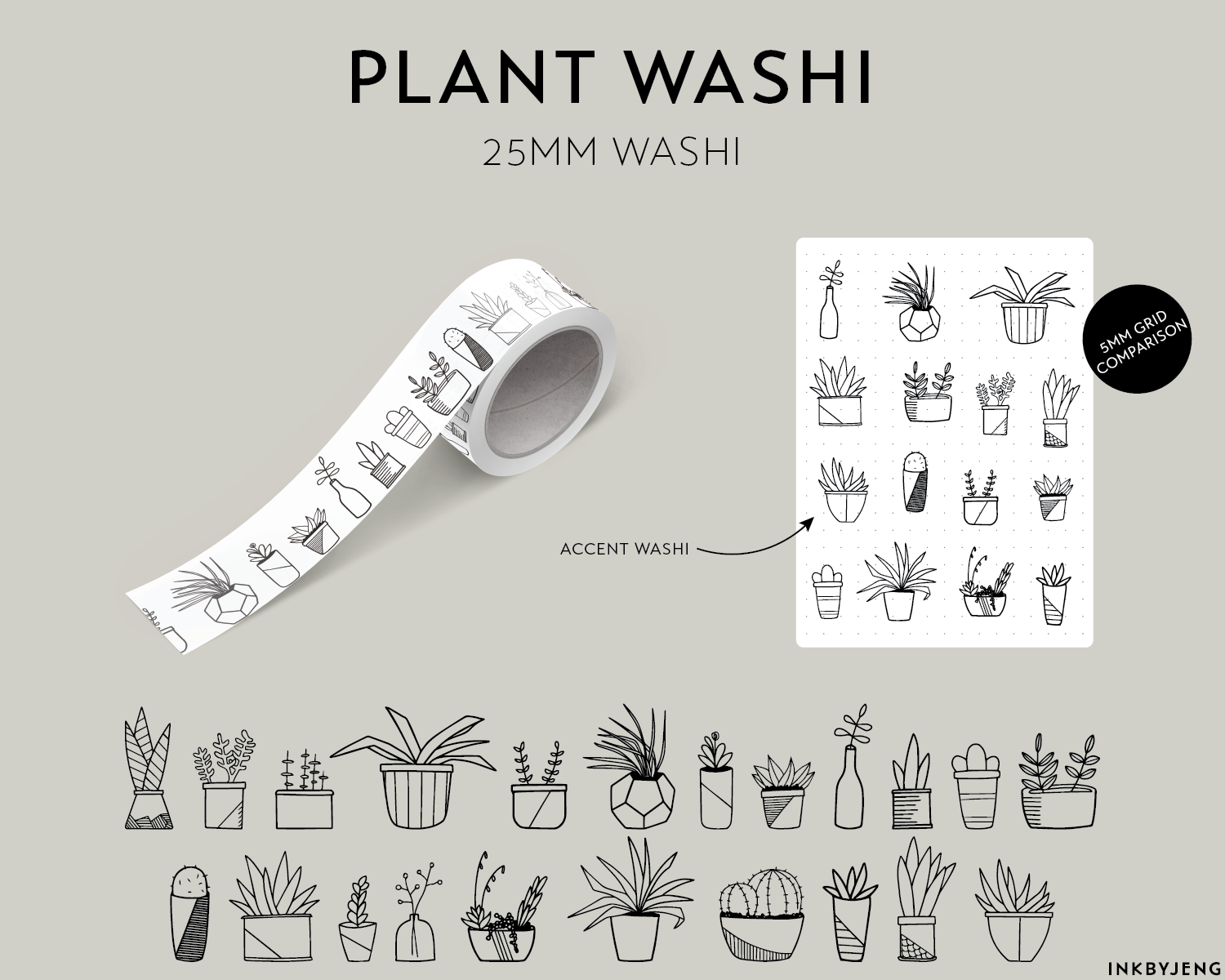 Washi Tape 25mm - Plants - (W25 | 096)