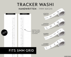Washi Tape 7mm - (HANDWRITTEN) Trackers and Calendars - (W7)