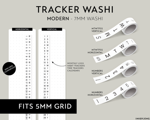 Washi Tape 7mm - (MODERN) Trackers and Calendars - (W7)