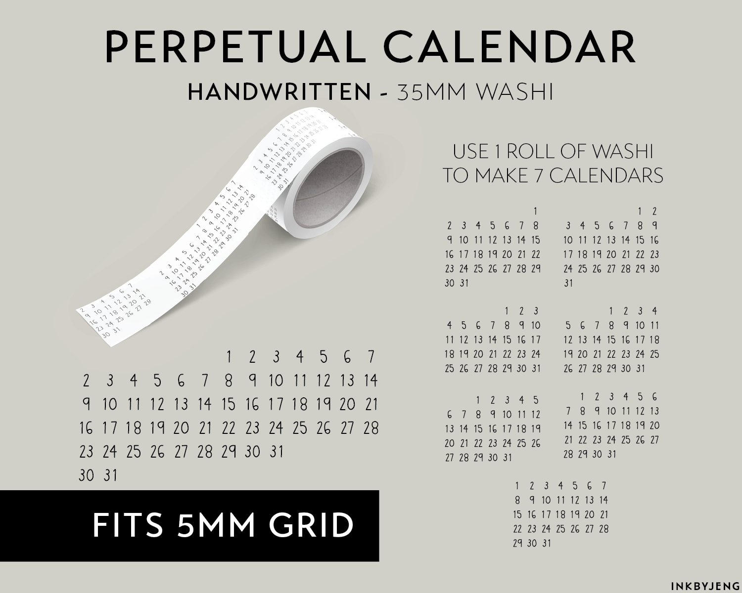 Washi Tape 35mm - Perpetual Calendar - Handwritten (W35 | 099)