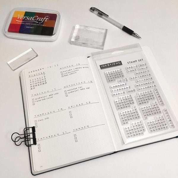 "Calendar Handwritten - 4x6"" Clear Stamp Kit (010)"