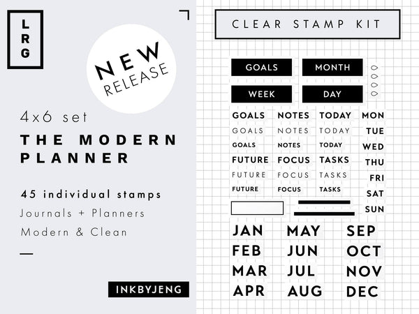 "The Modern Planner - 4x6"" Clear Stamp Kit (012)"