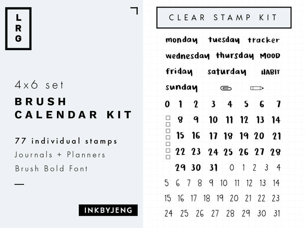 "Brush Days and Calendar Numbers Small - 4x6"" Clear Stamp Kit (013)"