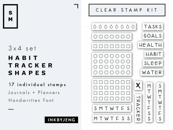 "Habit Tracker Boxes and Labels - 3x4"" Clear Stamp Kit (003)"