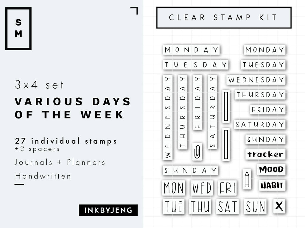 Various Days Of The Week 3x4 Clear Stamp Kit 004