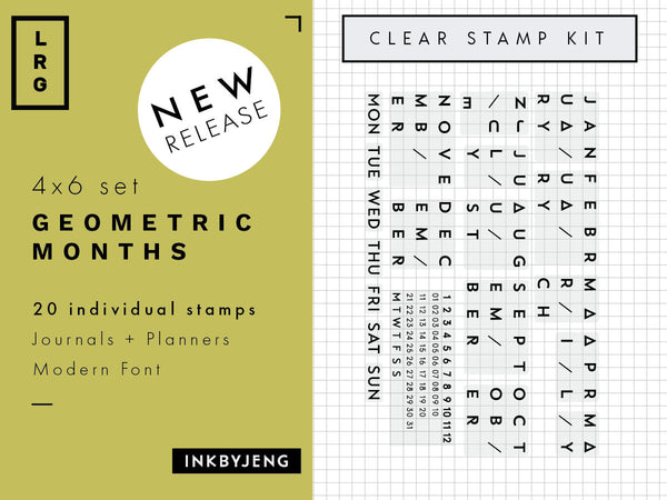 "Geometric Months + Date Calendar - 4x6"" Clear Stamp Kit (035)"