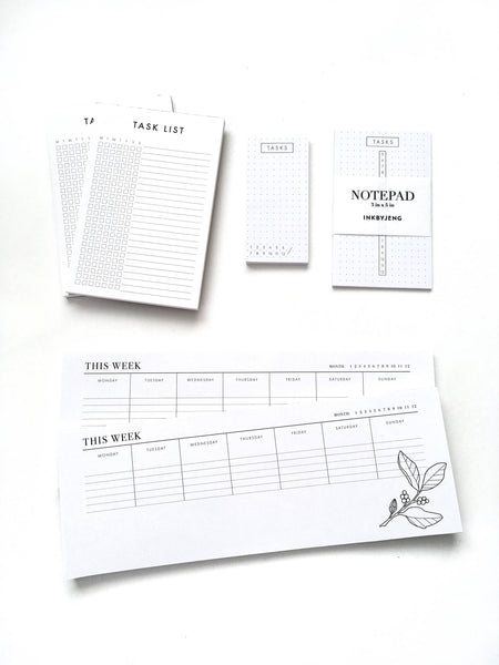 Desk Notepad - Weekly Agenda - Floral - 11x4""
