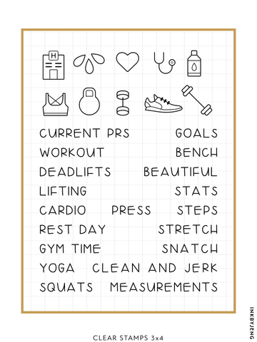 "Workout - 3x4"" Clear Stamp Kit (009)"