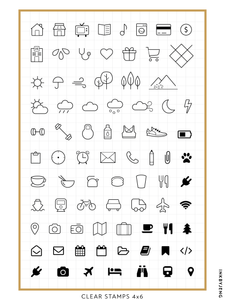 "Planner Icons Vol. 1 - 4x6"" Clear Stamp Kit (011)"