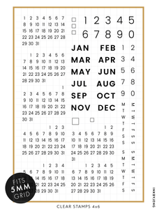 "Calendar Modern - 4x6"" Clear Stamp Kit (034)"