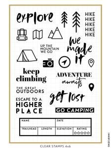 "Explore and Hike - 4x6"" Clear Stamp Kit (068)"