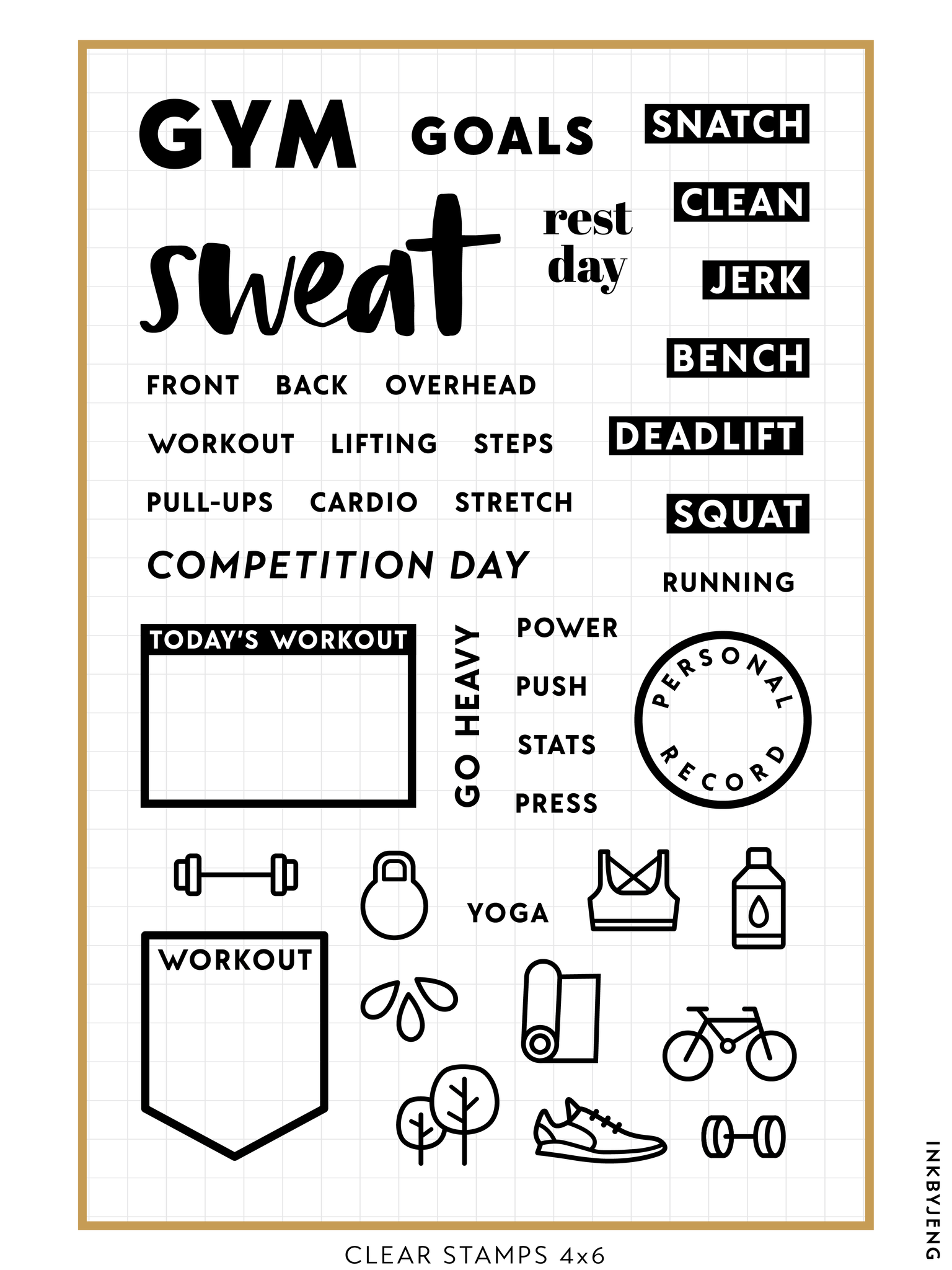"Gym and Strength Planner - 4x6"" Clear Stamp Kit (071)"