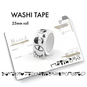 Black and White Icons Washi Tape - 25mm (076)