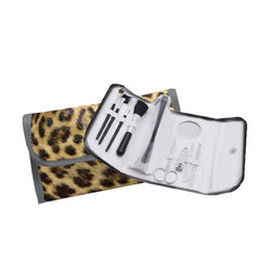 Myxx Leopard Makeup Brush and Manicure Roll Up Bag