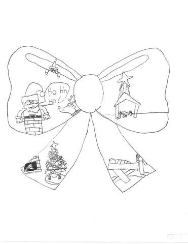 Christmas Bow Coloring Sheet