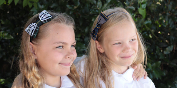 School Uniform Plaid Headband with Bow in Plaid #45 and Plaid #57
