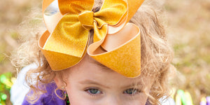 Big Gold Glitter Hair Bow