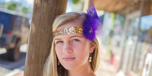 Carnival Flapper Headband with Gold Sequins, Purple Feather, Fleur-de-lis Center