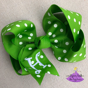 Apple Green Polka Dot Bow with Custom Letter