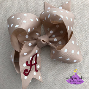 Big Khaki Polka Dot Bow Personalized with Embroidered Initial Letter in Maroon Thread