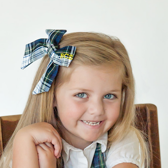 School Uniform Medium Plaid Bow - Navy White Green & Yellow #9