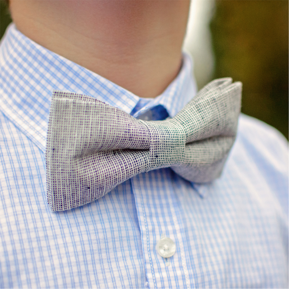 Grey Linen Chambray Bow Tie