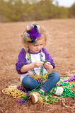 Big Ombre Mardi Gras Bow in Purple, Green, and Yellow - Large