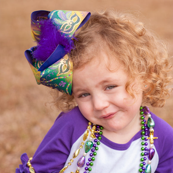 Big Ombre Mardi Gras Bow