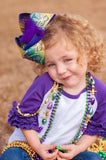 Big Mardi Gras Hair Bow for Girls