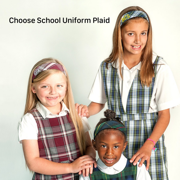 School Uniform Plaid Soft Headband (Various Plaids)