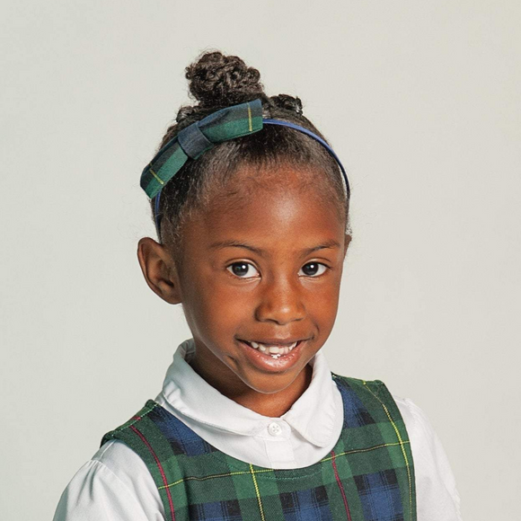 Plaid #83 Uniform Headband with Bow