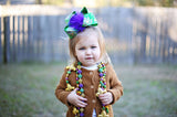 Big Green Mardi Gras Hair Bow for Toddler