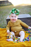 Black Mardi Gras Baby Bow Headband