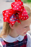 Red Polka Dot Back to School Hair Bow