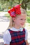 Big Red Polka Dot Hair Bow