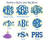 Monogram font options for your personalized school bow