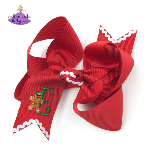 Big Bow for Christmas with Gingerbread Man and Personalized Initial Letter for Toddler Girl