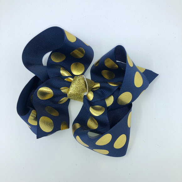 Medium Navy/Gold Polka Dot Boutique Bow - Alligator Clip Right
