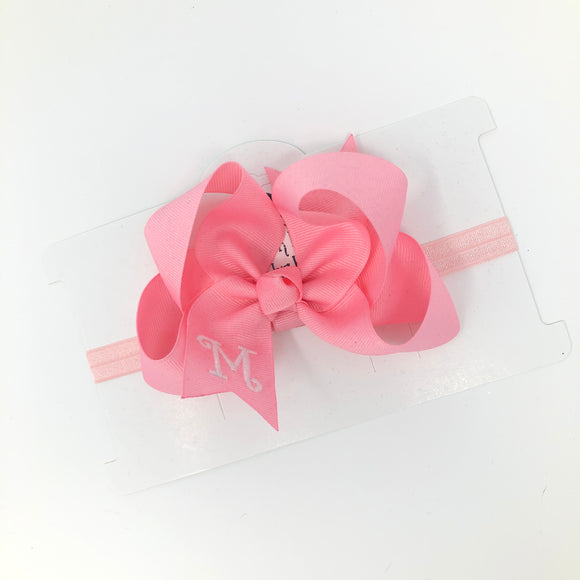 Medium Pink Baby Headband Bow Personalized with Initial Letter M - Elastic Band