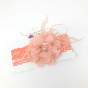 Coral Satin Flower Headband on Coral Lace