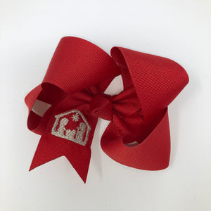 Medium Red Christmas Bow with Nativity - Alligator Clip Right