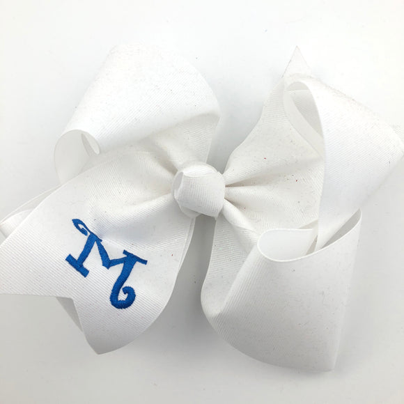 White Glitter Personalized Bow with Initial Letter - (Various Sizes)
